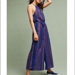 Cleobella Anthropologie Metallic Stripe Jumpsuit